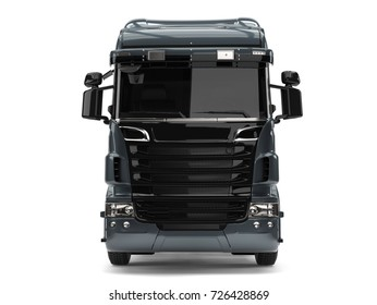 Modern metallic gray heavy transport truck without a trailer - front view - 3D Illustration