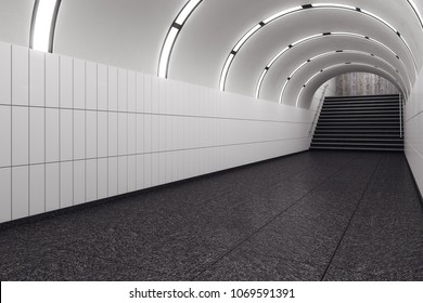 Modern metro subway underground tunnel interior with stairs. Transport concept. 3D Rendering