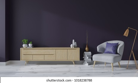 Modern mid Century interior of living room with armchairs and wood TV cabinet on white flooring and deep purple wall,Ultraviolet home decor concept ,emptry room ,3d rendering