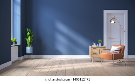 Modern mid century  interior of living room ,leather armchair with wood cabinet on blue wall and wood floor ,3d render