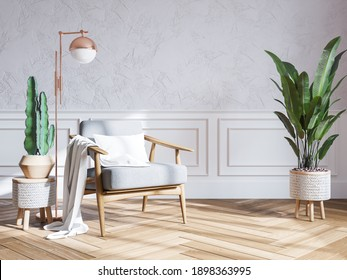 Modern mid century interior of living room , armchairs with plant on white wall with frame mockup ,3d render