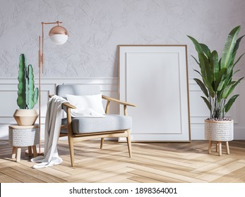 Modern mid century interior of living room , armchairs with plant on white wall ,3d render