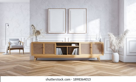Modern mid century interior of living room , wood cabinet on white wall  ,3d render