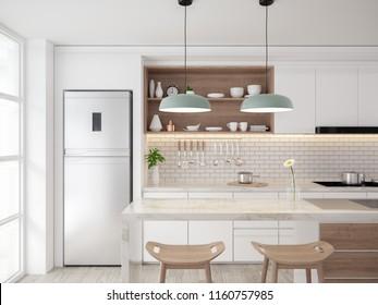 Modern mid century  kichen room interior concept design,cozy home ,3drender