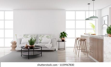 Modern mid century living and kichen room interior concept design,cozy home ,3drender