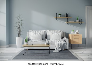 Modern mid century and minamalist interior of living room design concept, white sofa and wood table on blue wall and wood floor ,3d render