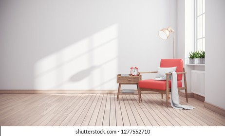 Modern mid century and minimalist interior of living room ,Living coral decor concept,vintage pink armchair with wood table in white room ,3d render