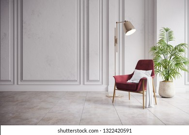 Modern mid century and minimalist interior of living room,vintage red armchair with gold lamp in white room ,3d render