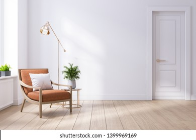 Modern mid century and minimalist interior of living room ,leather armchair with table on white wall and wood floor ,3d render