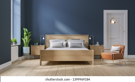 Modern mid century and minimalist interior of Bedroom ,wood bed and bedside table with  leather armchair on dark blue wall and wood floor ,3d render