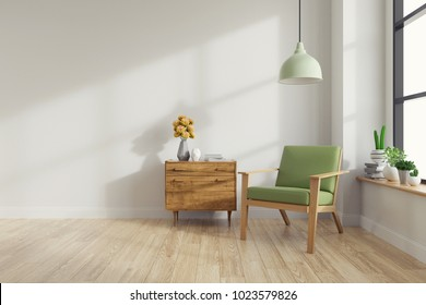 Modern mid Century and vintage interior of living room ,green lounge chair with wood table on white wall and wood floor  in front of a window ,empty room ,3d rendering