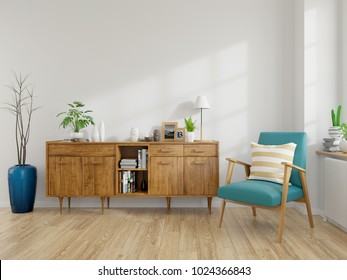 Modern mid Century and vintage interior of living room ,blue lounge chair with wood cabinet on white wall and wood floor  in front of a window ,empty room ,3d rendering