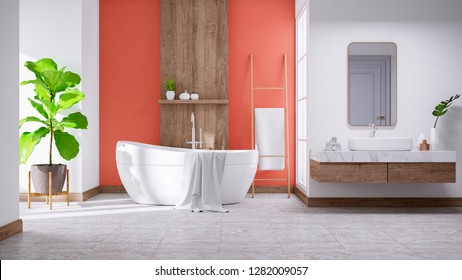 Modern and  minamalist Bathroom interior concept ,white basin on wooden shelf  and white  bathtub with coral wall,3d render
