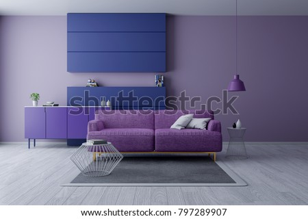 Modern Minamalist Interior Living Room Ultraviolet Stockillustration Cool Wall Bedroom Decor Concept Collection