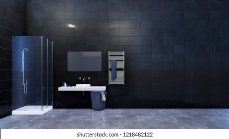 Modern minimalist bathroom interior with simple glass walk in shower, mirror, white wash basin and glossy black marble tiled wall with copy space. 3D illustration from my own 3D rendering file.