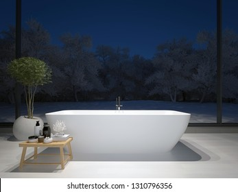Modern minimalist bathroom with large windows, plant and a nice view. 3d rendering