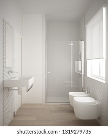 Modern minimalist bathroom with parquet oak wood floor and white mosaic tiles, window and walk-in shower, contemporary architecture interior design, 3d illustration