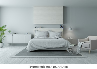 Modern and minimalist bedroom design,Cozy white and gray room concept ,3d rendering