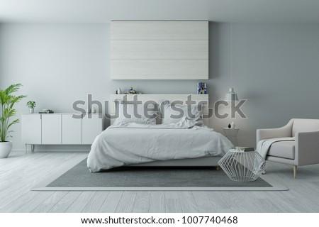 Modern Minimalist Bedroom Design Cozy White Gray Stock Illustration - Gray-bedroom-minimalist
