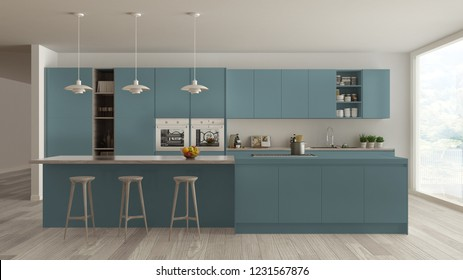 Modern minimalist blue and wooden kitchen with island and big panoramic window, parquet, pendant lamps, contemporary architecture interior design, 3d illustration
