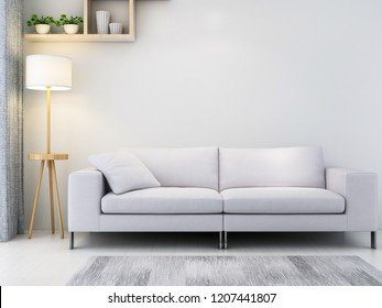 Modern minimalist bright tones living room, light sofas and bedside tables, floor lamps, etc.3D rendering