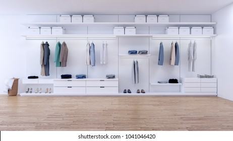 Modern minimalist dressing room, walk- in closet with white wardrobe,3d rendering