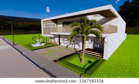 Modern Minimalist Exterior Design Tropical House Stock Illustration