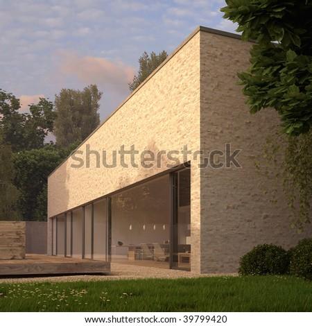 Modern Minimalist House Wood Deck Garden Stock Illustration 39799420
