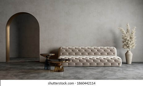 Modern minimalist interior with arch, concrete floor, sofa, coffe table and decor. 3d render illustration mock up.