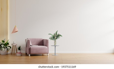 Modern minimalist interior with an armchair on empty white wall background.3D rendering