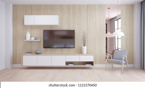 Modern and minimalist interior of living room, ,Cozy room and Simple Comforts,White TV cabinate with gray armchair on natural wood wall and floor,3d render