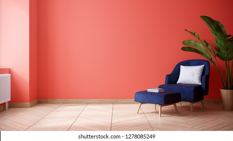 Modern and minimalist interior of living room ,blue armchair with Coral wall and wood floor ,3d render
