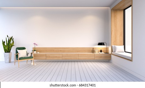 Modern and minimalist  interior of living room  ,wood cabinet with green easy chair on white wall and white floor  ,3d rendering