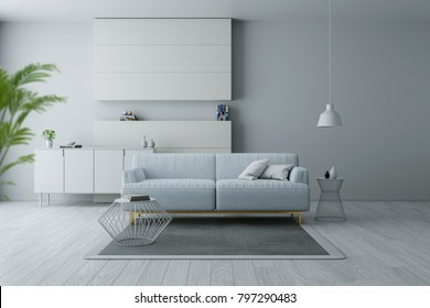 Modern and minimalist interior of living room, Blue armchairs on white flooring and white wall  ,3d rendering