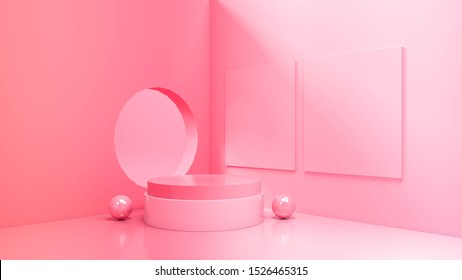 moderna pantalla de podio minimalista. Ilustración 3D