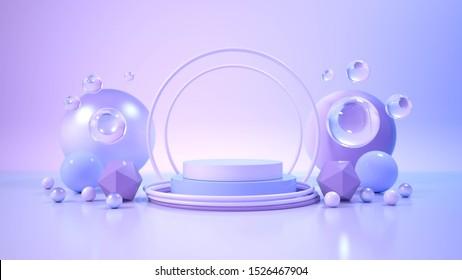 modern minimalist mockup podium display. 3D illustration
