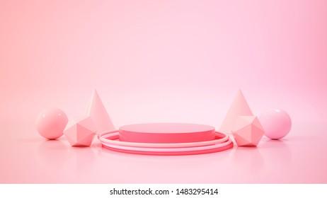 pantalla moderna de podio de maquillaje minimalista.Ilustración 3D