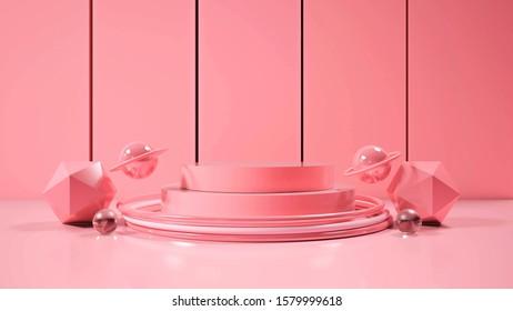 modern minimalist mockup podium display.3D illustration