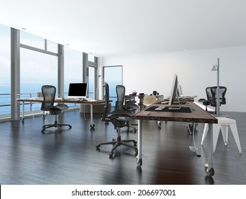 modern minimalist office computer. Modern Minimalist Office With Computer Work Stations On Wheeled Tables In A Spacious Open Plan Room