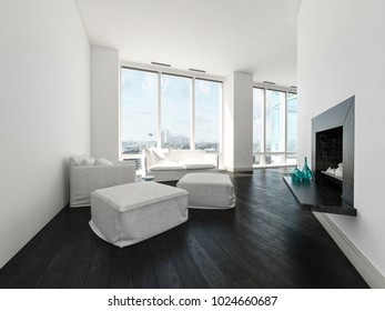 Modern minimalist white living room interior with an upholstered armchair, couch and ottomans in front of large bright windows and a dark parquet floor. 3d Rendering.
