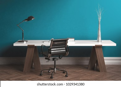 Modern minimalist workspace with desk and chair against turquoise wall. 3d Rendering.