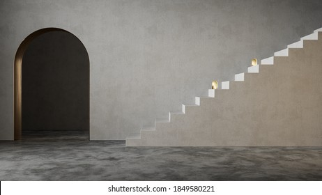 Modern minimalistic interior with arch and stairs. 3d render illustration mockup.