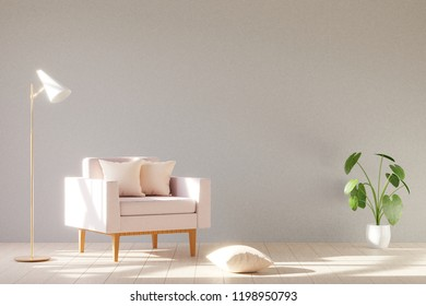 Modern minimalistic interior with an armchair. Scandinavian style. 3D render.
