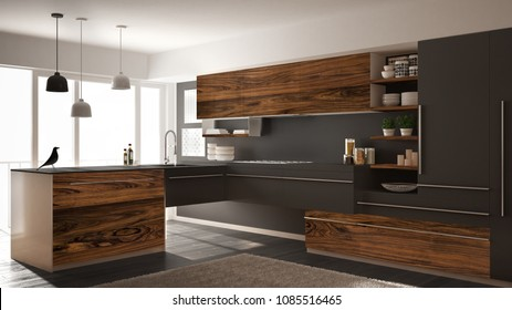 Modern minimalistic kitchen with classic wooden fittings, carpet and panoramic window, dark gray architecture interior design, 3d illustration