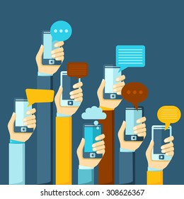 Modern mobile instant messenger chat poster with hands and smartphones  illustration