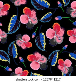 Modern motley floral seamless pattern in black, pink and gray colors. Floral print. Repeating hibiscus flowers pattern.