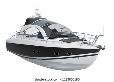 Modern motorboat, 3D rendering isolated on white background