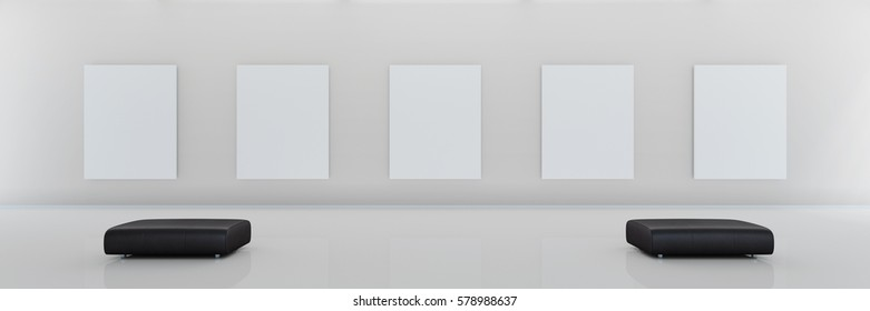 modern museum with 5 blank canvases as panorama 3d rendering