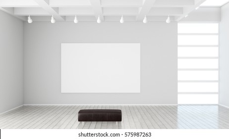 Modern museum with blank canvas as mock up 3d rendering