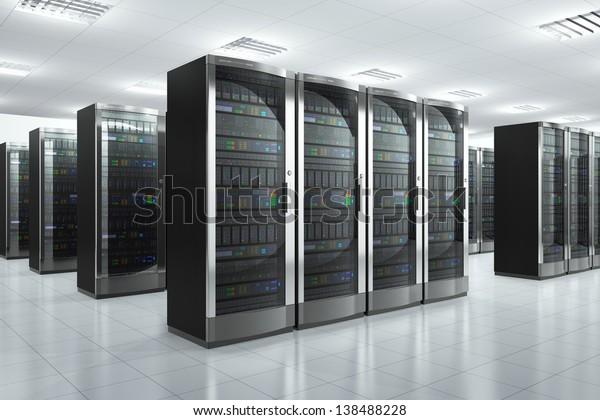 Modern network and communication concept: server room in datacenter
